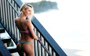 ladders, blonde, Lizzy Conway, looking away, ass, girl