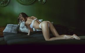 girl, ass, skinny, in bed, white lingerie