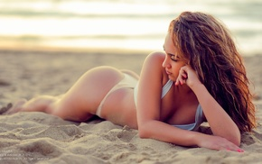 looking away, white bikini, ass, girl, sand