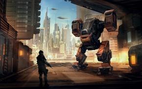 futuristic, science fiction, artwork, mech