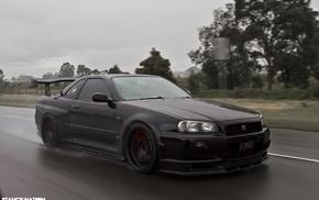 car, rain, Nissan GTR R34, Japanese cars, Nissan GT, R