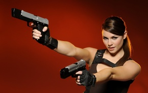 Lara Croft, girl, ponytail, pistol, Alison Carroll, girls with guns