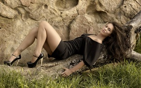 Megan Fox, girl, brunette, tattoo, high heels