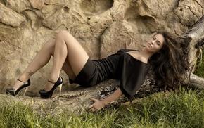 Megan Fox, girl, brunette, tattoo, high heels
