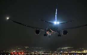 runway, night, landing, airplane, aircraft, airport