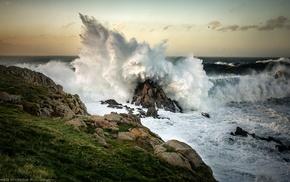 waves, rocks, sea