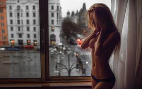 girl indoors, closed eyes, black panties, sideboob, strategic covering, long hair