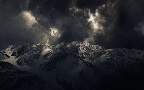 mountains, snowy peak, summit, clouds, dark, sunlight