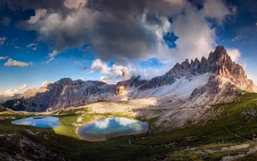 clouds, mountains, Alps, sunset, Italy, landscape