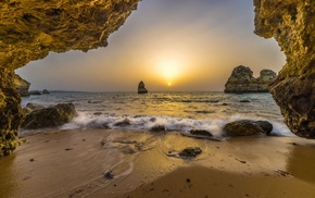 Portugal, cave, horizon, rock, landscape, nature