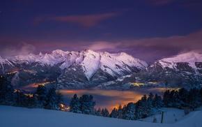 city, nature, landscape, trees, Alps, mountains