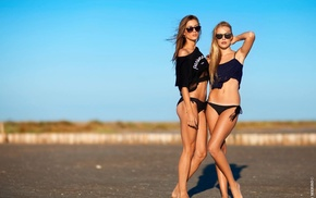 Yann Merro, blonde, sunglasses, bikini, girl, girl outdoors