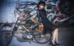 model, Asian, girl, bicycle