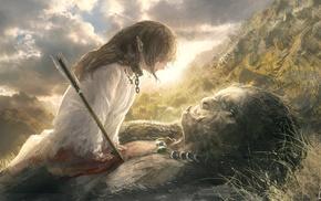 fantasy art, arrows, trolls, blood, elves, white dress