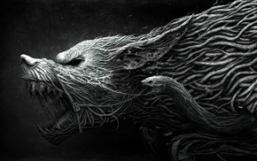 simple background, snake, Werewolf, fantasy art, creature, horror