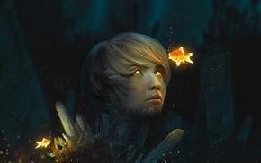 glowing, photo manipulation, goldfish, glowing eyes, digital art