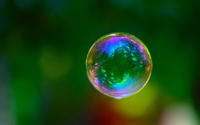 reflection, macro, colorful, bubbles, trees