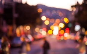 city, blurred, bokeh, lights