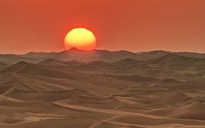 desert, landscape, Sun
