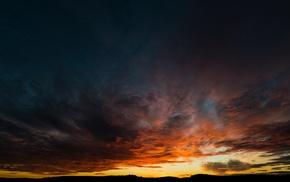 clouds, silhouette, landscape