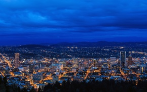 horizon, city, Oregon, city lights, Portland, cityscape