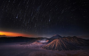 long exposure, Indonesia, crater, star trails, landscape, volcano