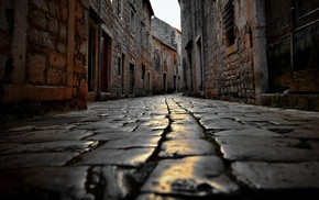 cobblestone, street, urban, bricks, worms eye view, Croatia
