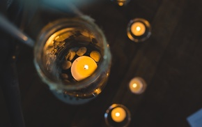 jars, birds eye view, macro, candles, depth of field