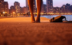 city, backpacks, feet, worms eye view, girl, barefoot
