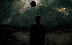 silhouette, stars, planet, men, space art, fantasy art