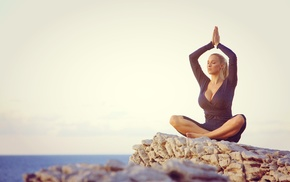 girl, girl outdoors, Jordan Carver, yoga, big boobs, meditation