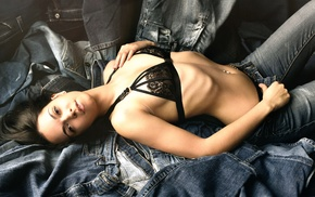 dress, lying on back, brunette, black clothing, black bras, in bed