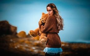 model, teddy bears, girl, girl outdoors