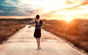 girl, sunlight, road, model, girl outdoors