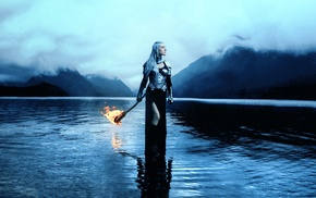 water, fire, nature, fantasy art, girl