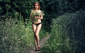 strategic covering, girl outdoors, model, redhead, topless, flowers