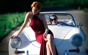 vehicle, Porsche, smoking, girl with cars, girl, car