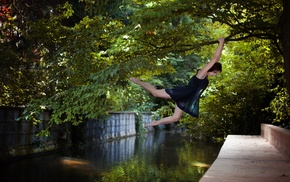 barefoot, canal, model, trees, jumping, climbing