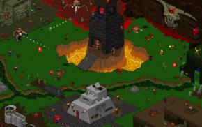 Doom game, pixels, video games, pixel art, artwork