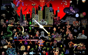artwork, pixels, video games, pixel art, collage