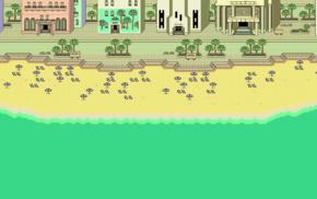 Earthbound, pixels, beach, pixel art, artwork