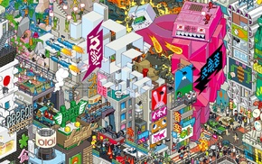 mech, pixel art, city, rocket, Japan, pixels