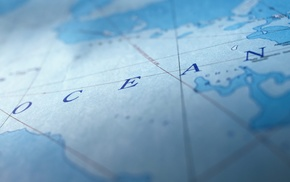 sea, continents, map, blue, depth of field, lines