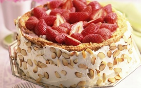 cake, strawberries, food