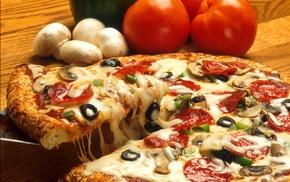 tomatoes, mushroom, food, pizza