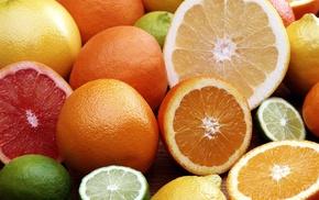 grapes, yellow, lemons, lime, food, fruit