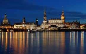 cathedral, architecture, Dresden, tower, water, church