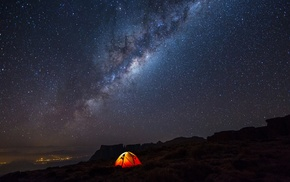 landscape, camping, night, stars, Milky Way