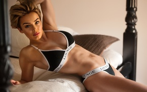 girl, short hair, model, Rosie Robinson, bed, Jack Russell