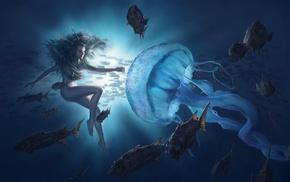 fish, girl, artwork, underwater, fantasy art
